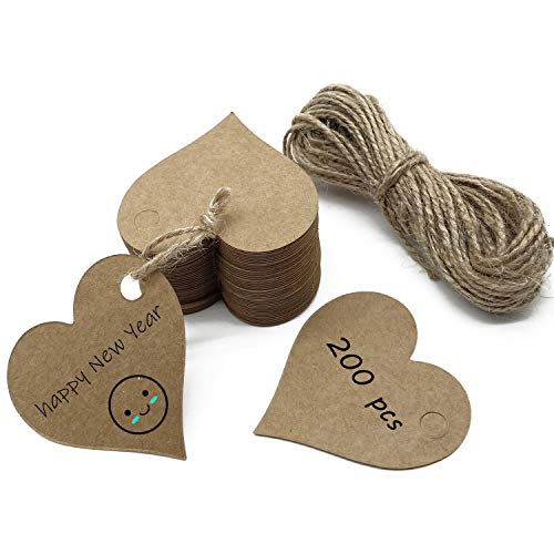White Paper Gift Tags 200 Pcs Heart-Shaped Blank Label Paper Wedding Labels Birthday Luggage Tags White Hang Tag with 20 Meters Jute Twine