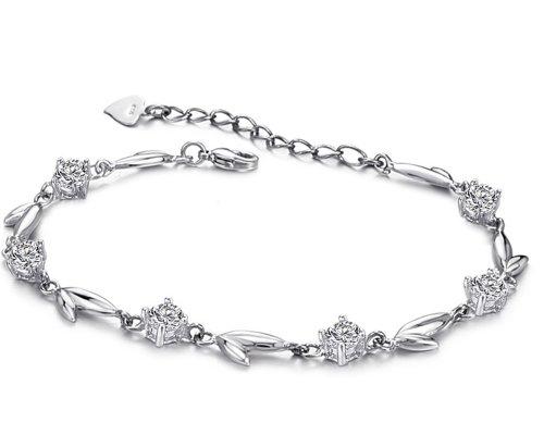 KATGI Fashion Beautiful Swiss Clear Crystal Charm Bracelet