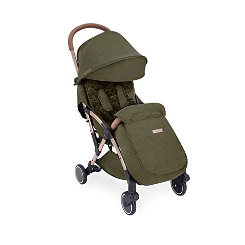 Ickle Bubba Globe Max Stroller   Ultra-Compact Travel Pushchair   from Birth to 3 Years   UPF 50 Hood, Rain Cover, Seatliner & Footmuff, Cup Holder   Khaki on Rose Gold Frame
