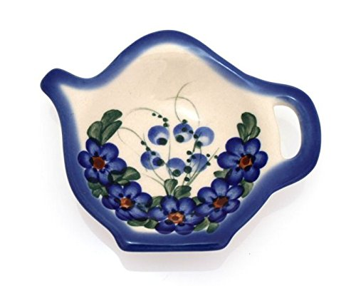 Classic Boleslawiec, Polish Pottery Hand Painted Ceramic Tea Bag Tidy, Diameter: 3.9 inch, 324-U-001 by BCV Boleslawiec Pottery