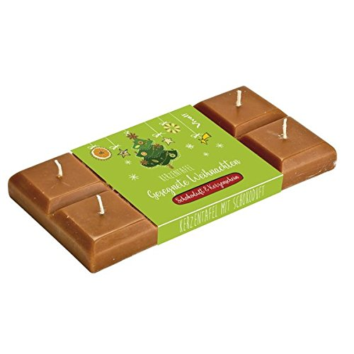 Kerzen-Tafel »Gesegnete Weihnachten«: Weihnachtskerzen mit Schokoladenduft in Tafelform