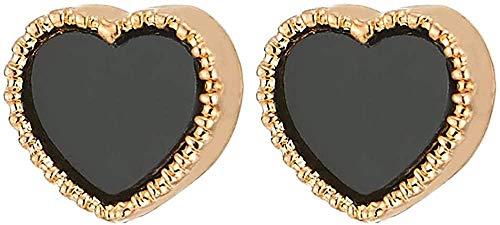 NC188 Pendiente de botón de corazón de Color Dorado magnético para Mujeres y niñas con Clip no perforante de Esmalte Negro en la Oreja Falsa