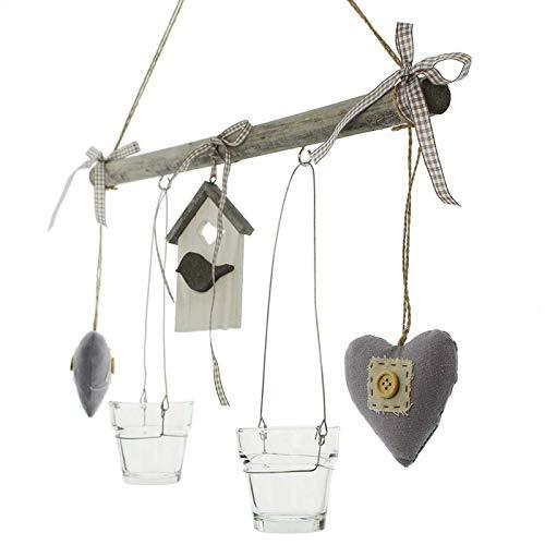 SIDCO Windlicht Hänger Vogelhaus Kerzenhalter Teelichthalter Mobilie Holz Fenster Deko
