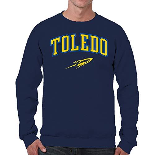 Campus Colors NCAA Adult Arch & Logo Gameday Crewneck Sweatshirt (Toledo Rockets - Navy, Adult Medium)