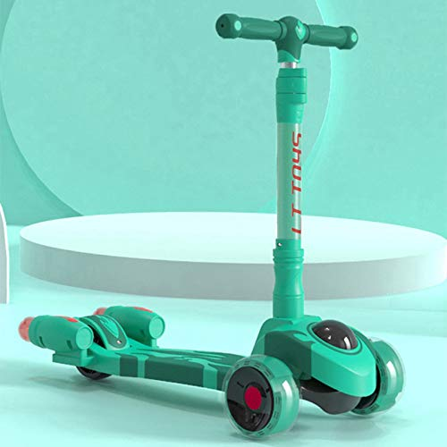 JXILY Scooter Kick Scooter para Niños, Pedal Plegable, 3 Luces De PU Rueda, Rueda De PU Silenciosa, Flash Music Scunt Scooters, Gravity Direction Kick Scooters