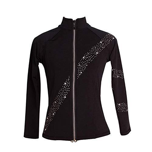 Eislaufjacke für Eiskunstlauf Kristall Design Lange Ärmel Jacken Wintersportbekleidung für Mädchen Frauen,Schwarz,XXXS
