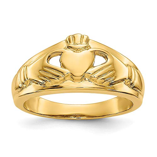 14k Yellow Gold Ladies Irish Claddagh Celtic Knot Band Ring Size 6.50 Fine Jewellery For Women Gifts For Her