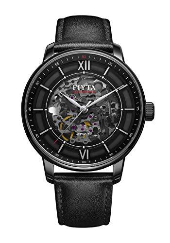 FIYTA - Orologio da uomo automatico con cinturino in pelle nera, quadrante scheletrato e fondo della cassa con finestra di visualizzazione DGA23008.BBB