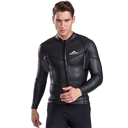 2MM Long Sleeve Neoprene Wetsuit Men Top Sunscreen UV Surfing Smoothskin Jacket for Diving Swimming Shirt,XL