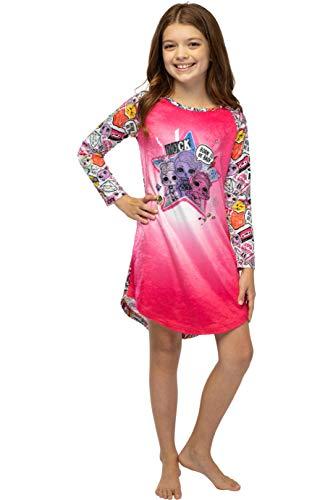 LOL Surprise! Girls Born to Bad Emoji Raglan Nightgown Kids Velvety Sleep Shirt (M, 7/8)