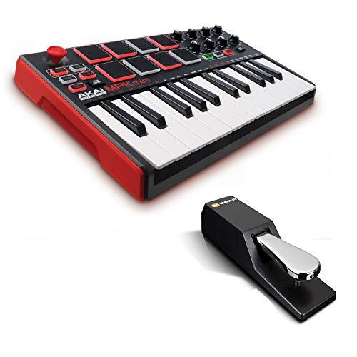 AKAI Professional MPK Mini MKII + M-Audio SP-2 - 25-Tasten-USB-MIDI-Keyboard Controller mit 16 hintergrundbeleuchteten Pads, 8 Q-Link-Reglern + Universal Sustain Pedal mit Piano Style Action