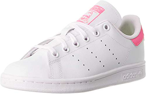 adidas Stan Smith J, Chaussure de Gymnastique Mixte, FTWR White/FTWR White/Real Pink S18, 38 EU