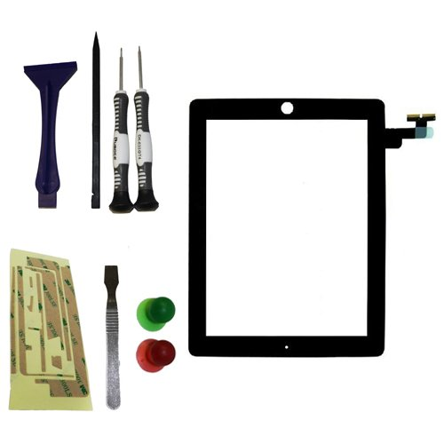 YAGadget Black iPad 2 Digitizer Glass Touch Screen Replacement + 3M Adhesive + Metal Opening Tool + 6 Piece Complete iPad Tool Kit