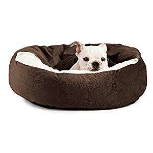 Cozy Cuddler Luxury Orthopedic Dog and Cat Bed with Hooded Blanket for Warmth and Security – Machine Washable, Water/Dirt Resistant Base, Multiple Color in 2 Sizes