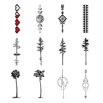 SanerLian Black Geometry Tree Tattoo Sticker Moon Phase Arrow Temporary Fake Tatoo Waterproof Men Women Arm Shoulder Back Body Art 13.8X4cm Set of 12  SF120