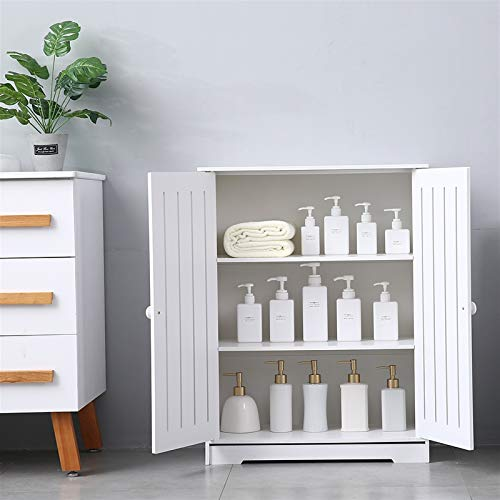 EXCLVEA Bathroom Cabinet PVC Bathroom Cabinet With Double Door And Three-layer Storage Cabinet for Kitchen Shower Room (Color : White, Size : 24.6x31.5x12.2 inches)