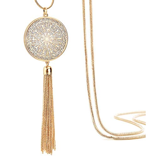 Suyi Long Tassel Necklace Hollow-Out Disk Circle Sweater Chain Y Pendant Necklace for Women Round-Gold
