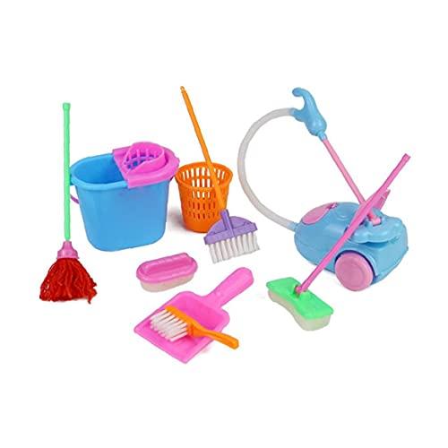 Juguete De La Muñeca del Hogar Juego De Imaginación Toy Kit Mini Aspirador De Limpieza Escoba De La Fregona Herramientas Accesorios Juguetes Ware Juguetes para Niños 9pcs