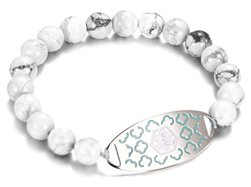 JF.JEWELRY White Turquoise Beaded Medical Alert ID Bracelet for Men and Women,Free Engraving 7.5...