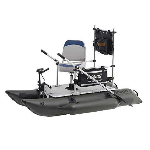 AQUOS 2021 New Backpack Series FM230 7.5ft Inflatable Pontoon Boat with Guard Bar, Folding Seat and...