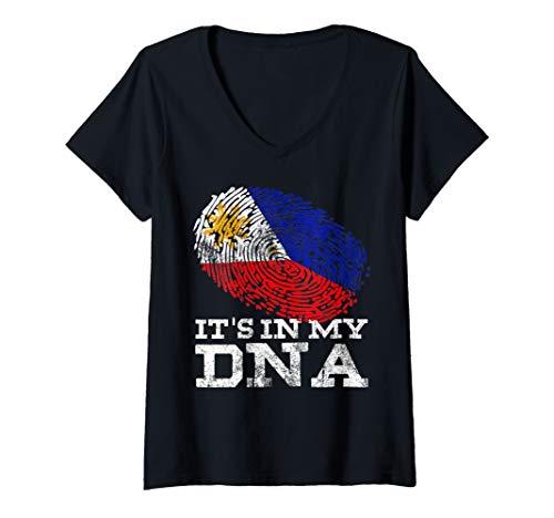 Womens It's In My DNA Philippine Gift Filipino Tee Philippines Flag V-Neck T-Shirt