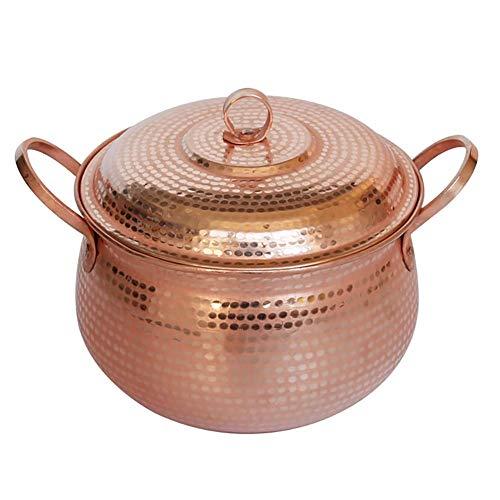 TELLMNZ Handgefertigter Kupfer-Gulaschkessel mit Deckel, offenes Feuer, gesundes Kochgeschirr, 6,3 l