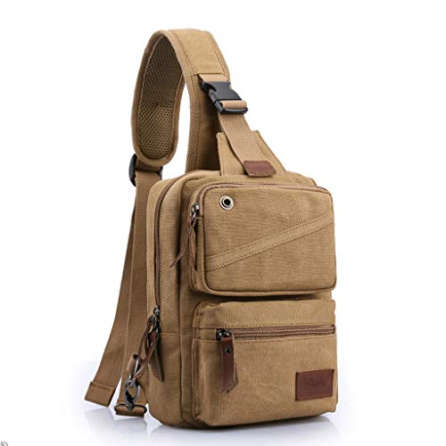 Lrxq Fashion Trend heuptas canvas heren borsttas casual kleine rugzak schoudertas multifunctionele sport messengertas
