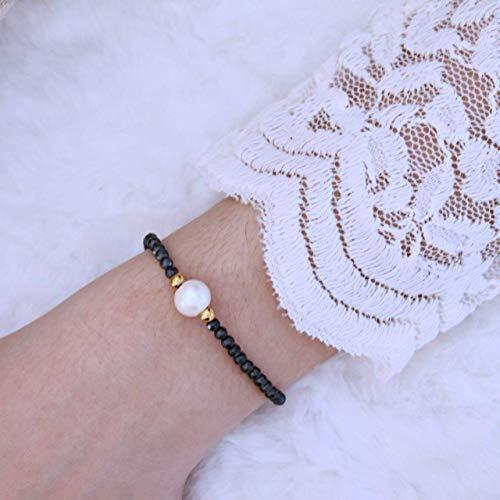 Armband Damen aus Hämatit, filigran, mit echter Perle, perfektes Geschenk für Frauen und Mädchen