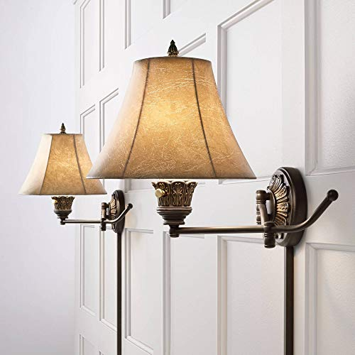 Rosslyn Rustic Swing Arm Wall Lamps Set of 2 French Country...