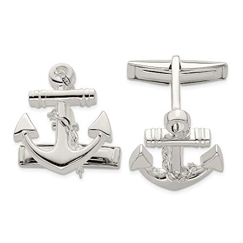 925 Sterling Silver Nautical Anchor Ship Wheel Mariners Dangle Rope Cufflinks Cuff Link Man Fine Jewelry For Dad Mens Gifts For Him