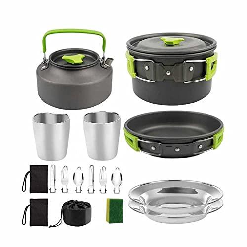 YUTRD ZCJUX Camping Utensilios de Cocina Potable Pan Pan Cup TEAport Set Doblading Outdoor Cocinar Sisting Picnic Vajilla Herramienta Equipo de Viaje (Color : A)