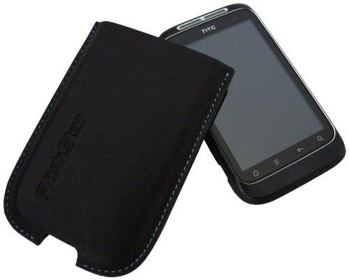 Flashstar Palermo - Funda de Cuero para HTC Wildfire S, Color Negro