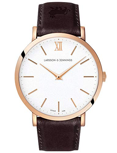 Larsson & Jennings LJXII Lugano Unisex Mens & Womens Watch with 40mm Satin White dial and Brown Leather Strap LX40-LBR-RGW.