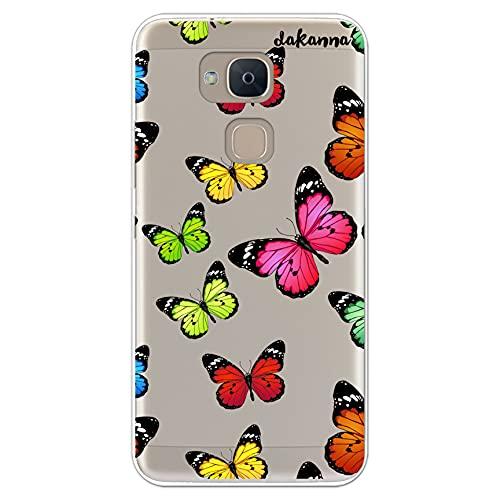 dakanna Funda para [ Bq Aquaris V Plus - VS Plus ] de Silicona Flexible, Dibujo Diseño [ Estampado de Mariposas Multicolor ], Color [Fondo Transparente] Carcasa Case Cover de Gel TPU, Smartphone