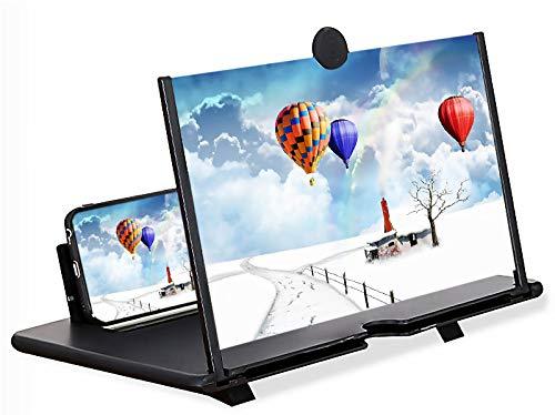 SUIFENG Lente Ingrandimento Smartphone,Amplificatore Schermo Cellulare da 12 ,Tavolo TV HD 3D,Protezione degli Occhi,Adatto a Tutti i Telefoni Cellulari,Nero