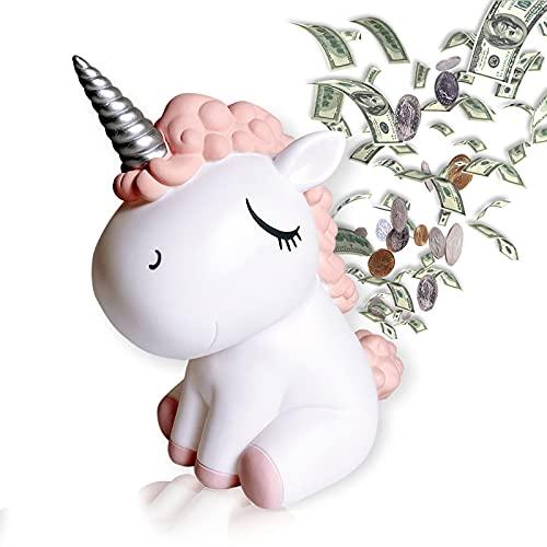 Hucha de unicornio para niñas, moneda, regalos para niños, gran hucha para niños, caja de ahorro de plástico personalizada para...