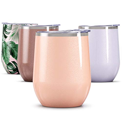 Maars Bev Steel Stemless Wine Glass Tumbler, 12 oz | Double Wall Vacuum Insulated - Glitter Blush