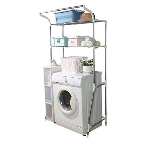 Hershii Estante de almacenamiento para baño, organizador de ahorro de espacio, soporte ajustable de 2 niveles con barra para colgar ropa y espaciador transparente, color marfil