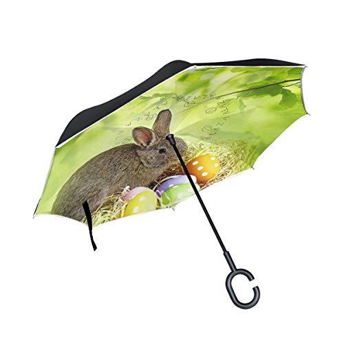 HYJDZKJY Dubbellaagse inverted paraplu auto omgekeerde paraplu Bunny Rabbit bonte eieren Pasen winddicht UV-bestendig travel outdoor paraplu