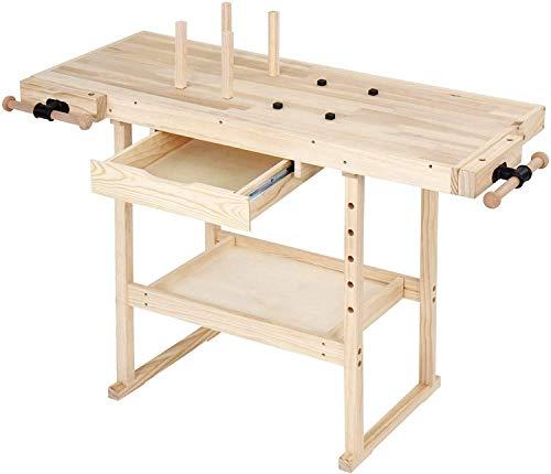 Banco de trabajo de madera de pino, con cajón y estante, 2 abrazaderas, 4 peldaños, carga máxima 200 kg, mesa de carpintería, taller