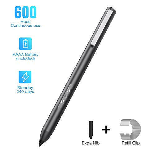 MoKo Microsoft Surface Pen Palm Rejection, 4096 Pressure Sensitivity Surface Stylus Supporting 600hrs Playing Time Compatible Surface Pro 3/4/5/6/7/X 2019, Surface 3/Go/Studio/Book/Laptop - Schwarz