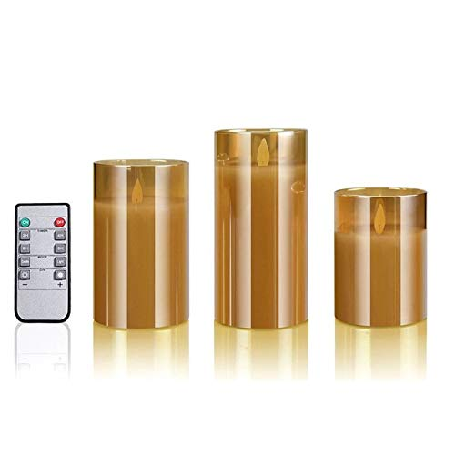 Flameless candle Flameless Led Candles Flickering, Real Wax Fake Wick Moving Flame Faux Wickless Pillar Battery Operated Candles with Timer