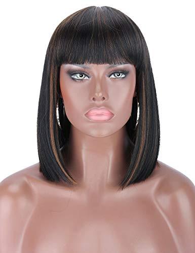 Kalyss kurze Bob Perücken mit Pony schwarze Perücken mit braunen Strähnen hitzebeständige Yaki synthetische Vollkopf Perücke Haar für Frauen natürliches Aussehen für tägliches Gebrauch