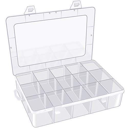 Arts Crafts Storage Box Organizer for Beads Crafts Jewelry Fishing Tackles, Stationery Pencil, Pens, Washi Tape, Art Supplies, Sticker, Small Toy& Accessories and More. 15 Compartments.
