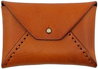 UER Women's Hand-stitched Textured Genuine Leather Envelope Coin Change Mini Pouch Card Case (Brown)
