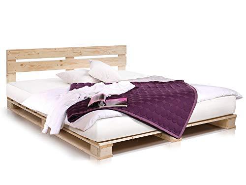 PALETTI Palettenbett inklusive Kopfteil Massivholzbett Holzbett Bett aus Paletten mit 11 Leisten, Palettenmöbel Made in Germany