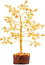 YATHABI Citrine Golden Wire Gemstone Tree Feng Shui Bonsai for Attracting Positive Energies Crystal Healing Chakra Cleansing Aura Cleansing & Home Decor Size: 7-8 Inch Approx