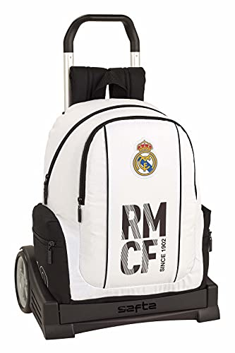 Real Madrid CF Mochila con Carro Ruedas Evolution, Trolley Equipaje para niños, Blanco, 43 cm