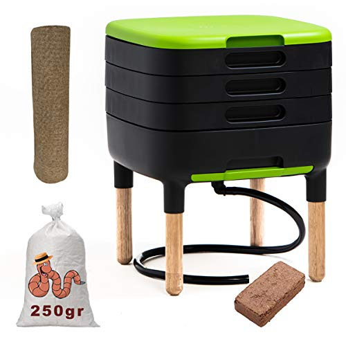 WormBox TinyWorm Design & Compact I 3-Etagen-Wurmkomposter. I 250gr Kompostwürmer / 500 STK. I Komplett-Set I Schublade I Holzbeine