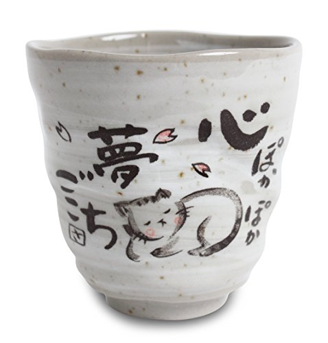 Mino ware Japanische Keramik Yunomi Chawan Teetasse schlafende Katze Sanaegama hergestellt in Japan (Japan Import) KSY008